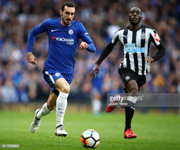 Davide Zappacosta of Chelsea runs with the ball away from the pressure of Massadio Haidara of Newcastle United during The Emirates FA Cup Fourth...