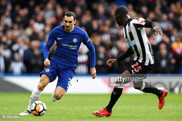 Davide Zappacosta of Chelsea runs with the ball under pressure from Massadio Haidara of Newcastle United during The Emirates FA Cup Fourth Round...