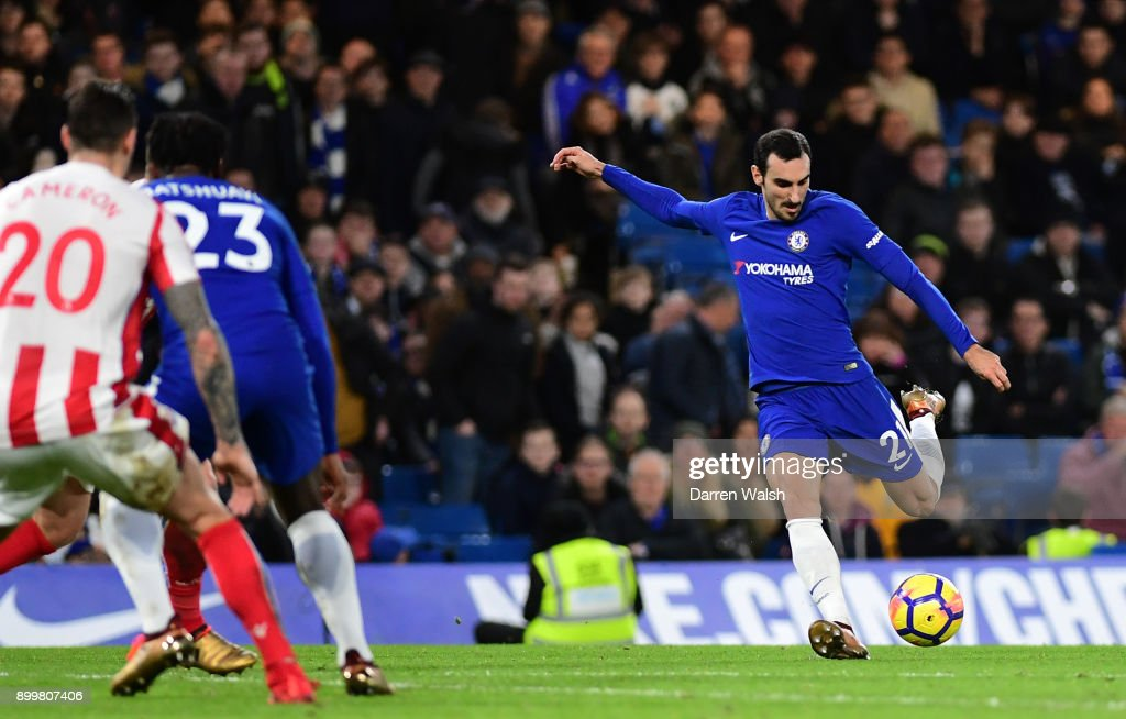 Davide Zappacosta of Chelsea scores his sides fifth goal during the Premier League match between Chelsea and Stoke City at Stamford Bridge on December 30, 2017 in London, England.