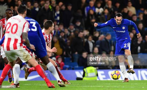 Davide Zappacosta of Chelsea scores his sides fifth goal during the Premier League match between Chelsea and Stoke City at Stamford Bridge on...