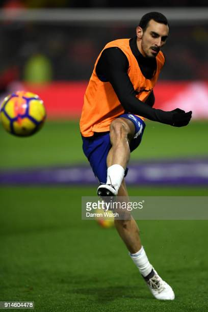 Davide Zappacosta of Chelsea warms up for the Premier League match between Watford and Chelsea at Vicarage Road on February 5 2018 in Watford England