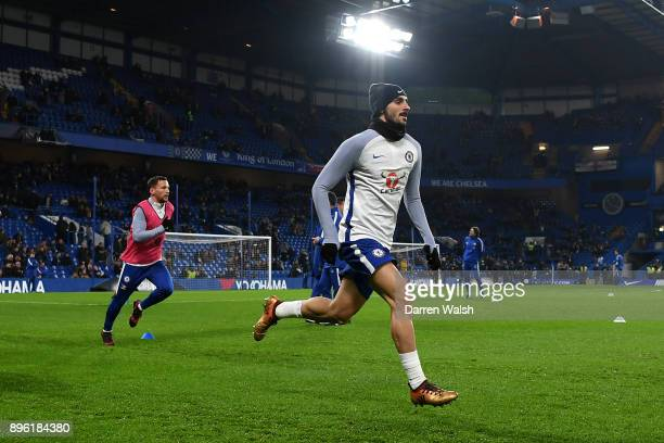 Davide Zappacosta of Chelsea warms up prior to the Carabao Cup QuarterFinal match between Chelsea and AFC Bournemouth at Stamford Bridge on December...