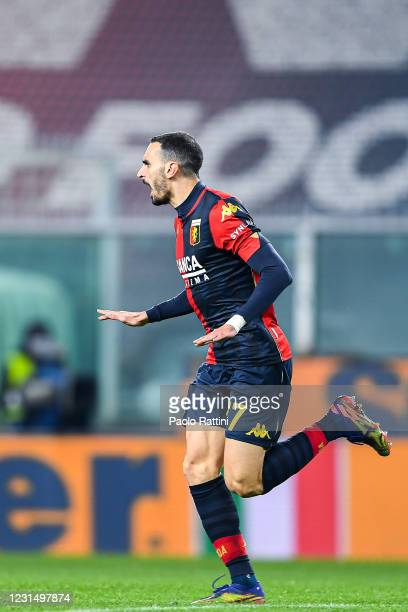 Davide Zappacosta of Genoa celebrates after scoring a goal during the Serie A match between Genoa CFC and UC Sampdoria at Stadio Luigi Ferraris on...