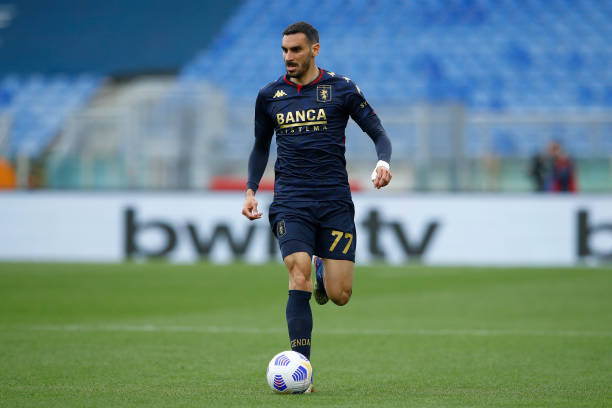 Davide Zappacosta of Genoa CFC controls the ball during the Serie A match between SS Lazio and Genoa CFC at Stadio Olimpico on May 2, 2021 in Rome,...