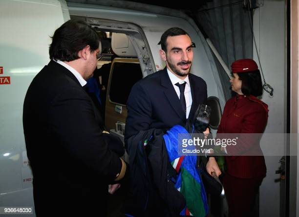 Davide Zappacosta of Italy arrives to Manchester Airport on March 22 2018 in Manchester England