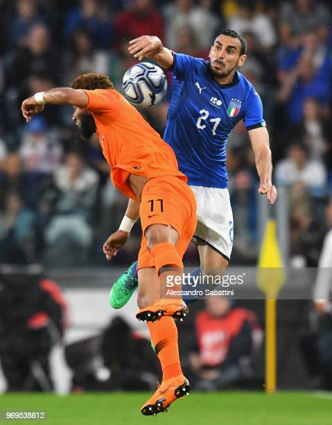 Davide Zappacosta of Italy competes for the ball whit Tonny Vilhena of Netherlands during the International Friendly match between Italy and...