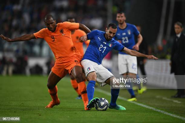 Davide Zappacosta of Italy competes for the ball with Ryan Babel of Netherlands during the International Friendly match between Italy and Netherlands...