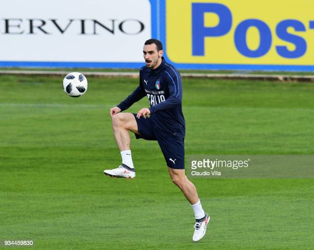 Davide Zappacosta of Italy in action during a training session at Centro Tecnico Federale di Coverciano on March 19 2018 in Florence Italy