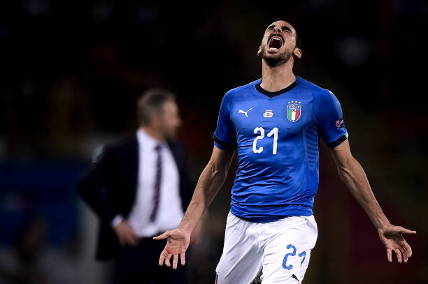 Davide Zappacosta of Italy looks dejected during the UEFA...