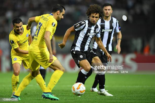 Davide Zappacosta of Chelsea and Amr Warda of PAOK compete for the ball during the UEFA Europa League Group L match between PAOK and Chelsea at...