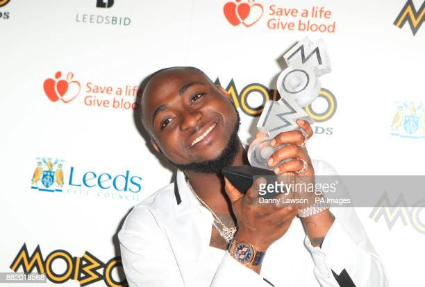 Davido with his award for best African act at the 22nd Mobo Awards held at Leeds First Direct Arena Clay Pit Lane Leeds
