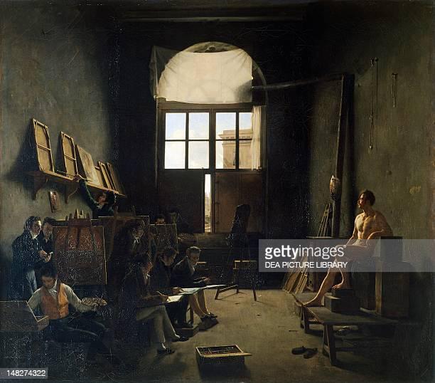 David's studio by Leon Mathieu Cochereau oil on canvas 90x105 cm Paris Musée Du Louvre