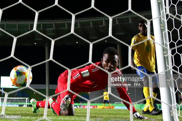 Davidson Malam of Solomon Islands watches as the ball rolls into the goal during the FIFA U17 World Cup Brazil 2019 Group F match between Mexico and...
