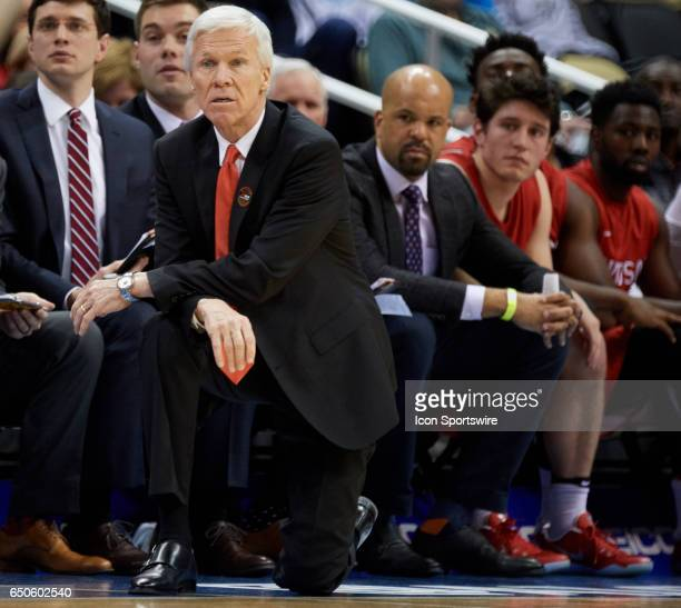Davidson Wildcats head coach Bob McKillop looks on from the bench during an NCAA Atlantic 10 Championship game between La Salle Explorers and...