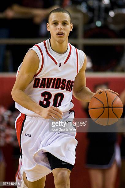Davidson's Stephen Curry brings the ball up court against College of Charleston during a college basketball game at Belk Arena on the campus of...
