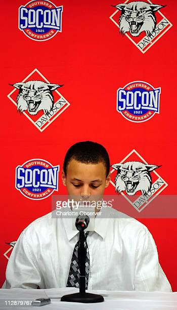 Davidson's Stephen Curry paused during a news conference where he announced his intent to forego his senior year at Davidson College and enter the...