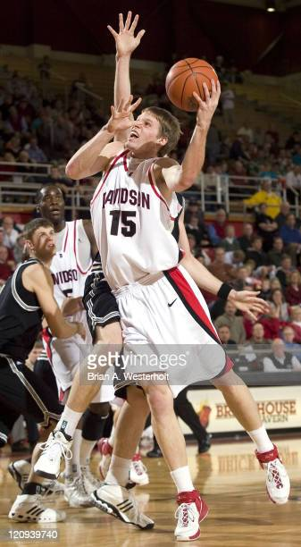 Davidson's Thomas Sander takes the ball to the basket during first half action versus Wofford at the Belk Arena in Davidson, NC, Monday, February 19,...