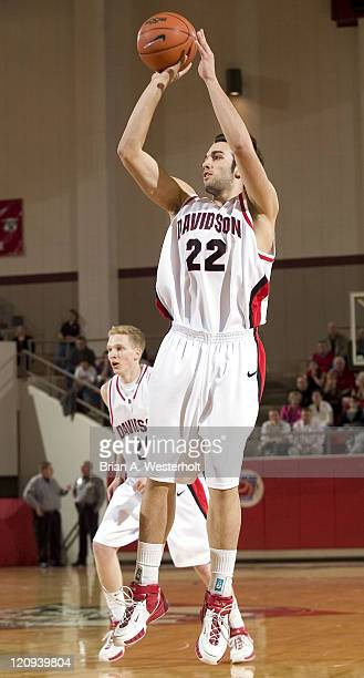 Davidson's William Archambault fires up a three-point shot during first half action versus Wofford at the Belk Arena in Davidson, NC, Monday,...