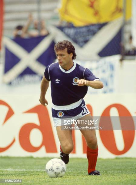 Davie Cooper of Scotland in action during the FIFA World Cup Group E match between Scotland and Uruguay at the Estadio Neza 86 on June 13 1986 in...