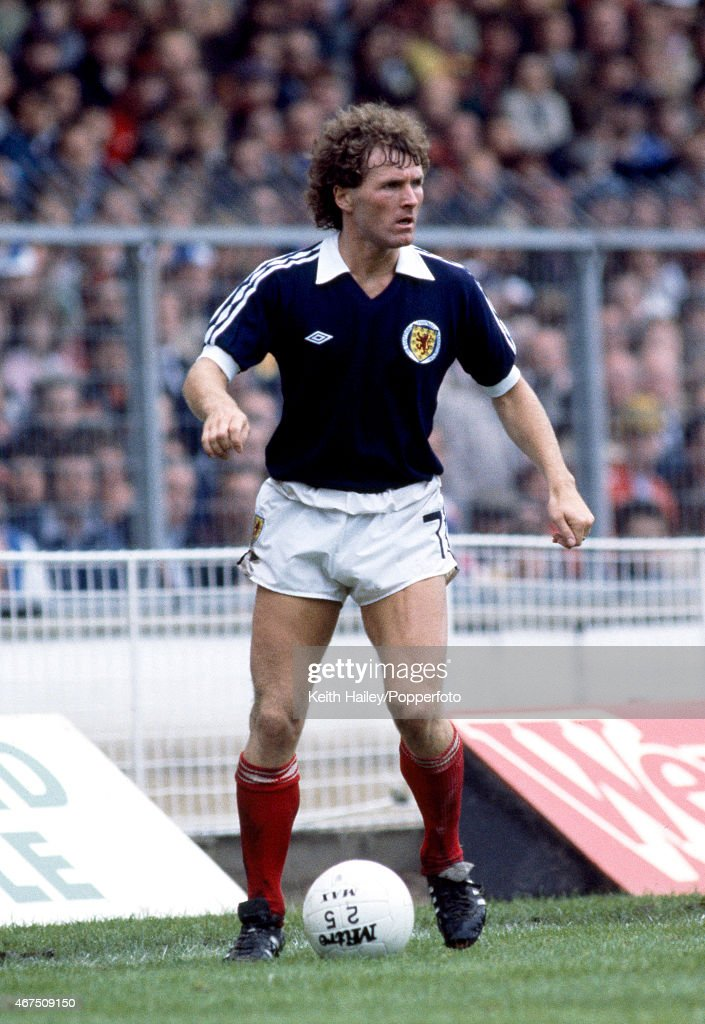 Davie Provan in action for Scotland during the British Championship International match against England at Wembley Stadium in London, 23rd May 1981. Scotland won 1-0.