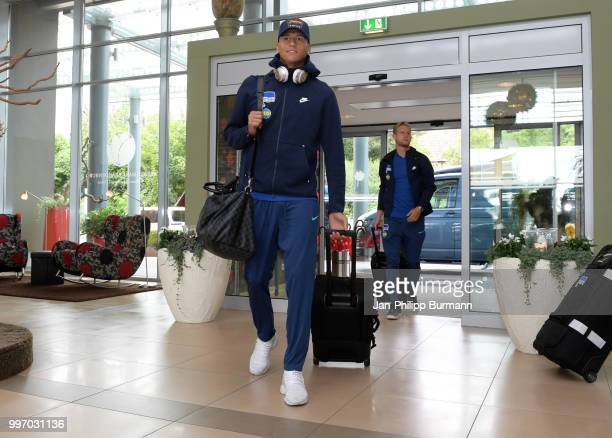 Davie Selke and Arne Maier of Hertha BSC during a training camp on July 12 2018 in Neuruppin Germany