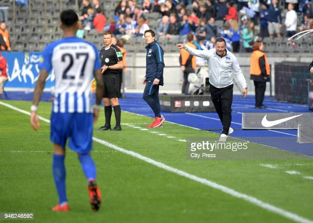 Davie Selke and coach Pal Dardai of Hertha BSC during the Bundesliga game between Hertha BSC and 1st FC Koeln at Olympiastadion on April 14 2018 in...