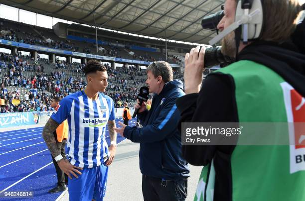 Davie Selke and Fabian of Wachsmann of Hertha BSC after the Bundesliga game between Hertha BSC and 1st FC Koeln at Olympiastadion on April 14 2018 in...