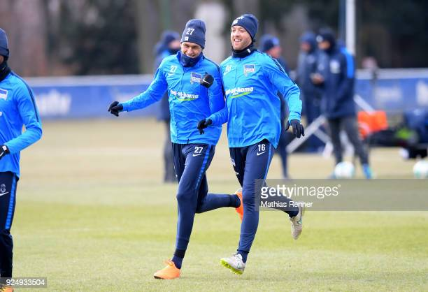 Davie Selke and Julian Schieber of Hertha BSC during a training session at Schenkendorfplatz on February 27 2018 in Berlin Germany