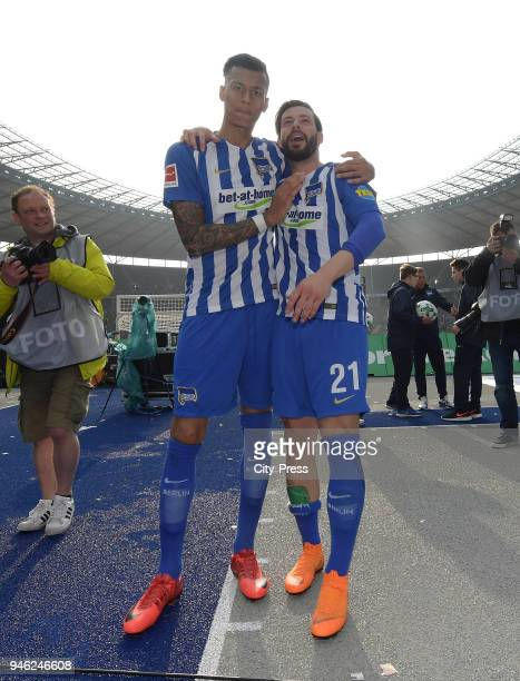 Davie Selke and Marvin Plattenhardt of Hertha BSC after the Bundesliga game between Hertha BSC and 1st FC Koeln at Olympiastadion on April 14 2018 in...