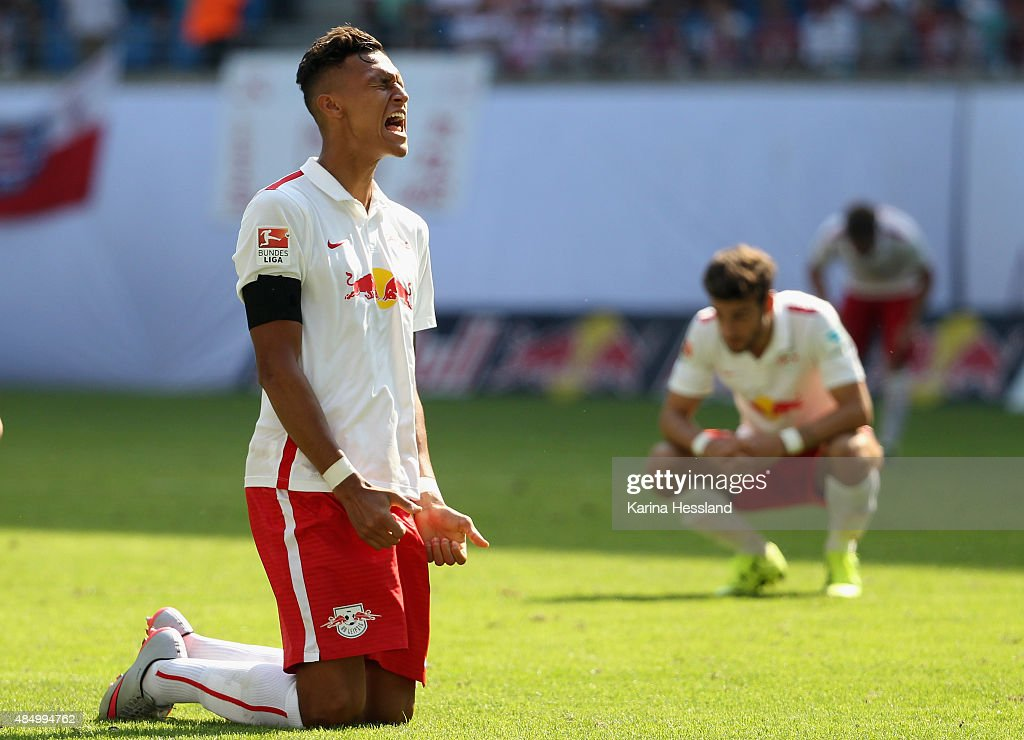 Davie Selke and Massimo Bruno of Leipzig look dejected after the Second League match between RB Leipzig and FC St.Pauli at Red-Bull Arena on August 23, 2015 in Leipzig, Germany.
