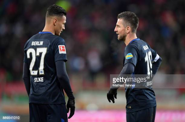 Davie Selke and Vedad Ibisevic of Hertha BSC during the Bundesliga match between FC Augsburg and Hertha BSC on December 10 2017 in Augsburg Germany