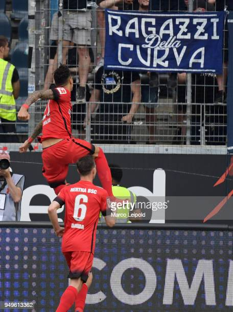 Davie Selke and Vladimir Darida of Hertha BSC celebrate after scoring the 01 during the match between Eintracht Frankfurt and Hertha BSC at the...