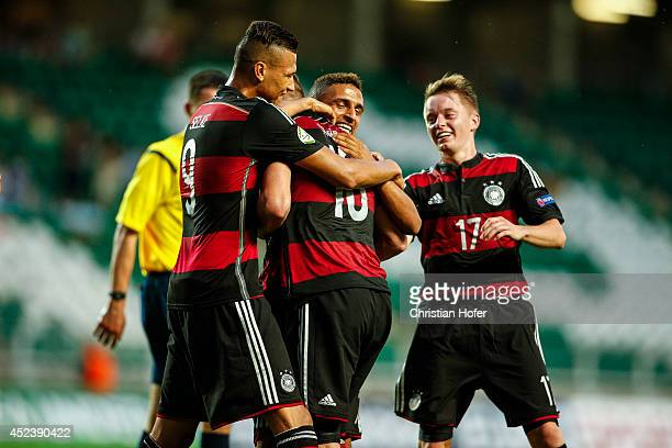 Davie Selke Anthony Syhre and Benjamin Truemmer of Germany celebrate after scoring against Bulgaria during the UEFA Under19 European Championship...