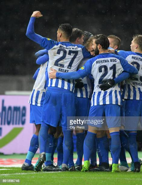 Davie Selke Arne Maier and Marvin Plattenhardt of Hertha BSC celebrate after scoring the 20 during the game between Hertha BSC and Hannover 96 on...