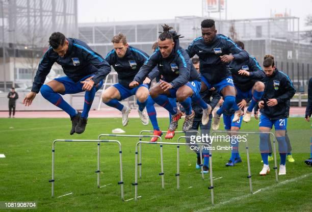 Davie Selke Arne Maier Valentino Lazaro Jordan Torunarigha and Marvin Plattenhardt of Hertha BSC before the Telekom Cup match between Borussia...