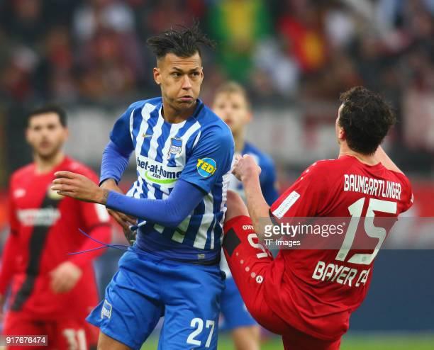 Davie Selke of Berlin and Julian Baumgartlinger of Leverkusen battle for the ball during the Bundesliga match between Bayer 04 Leverkusen and Hertha...