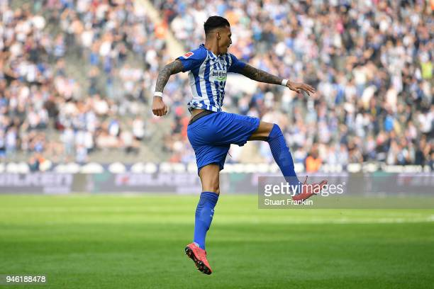 Davie Selke of Berlin celebrates after he scored a goal to make it 11 during the Bundesliga match between Hertha BSC and 1 FC Koeln at Olympiastadion...