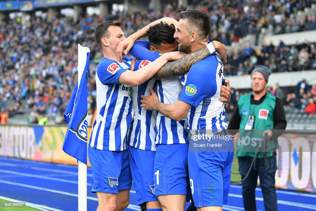 Davie Selke of Berlin (c) celebrates after he scored a goal to make it 2:1 during the Bundesliga match between Hertha BSC and 1. FC Koeln at Olympiastadion on April 14, 2018 in Berlin, Germany.