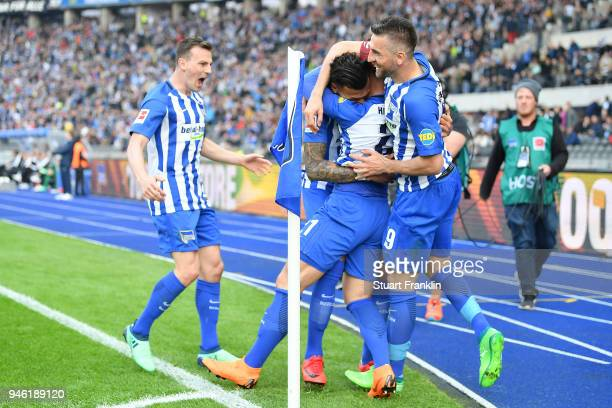 Davie Selke of Berlin celebrates after he scored a goal to make it 21 during the Bundesliga match between Hertha BSC and 1 FC Koeln at Olympiastadion...