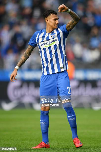 Davie Selke of Berlin celebrates after the Bundesliga match between Hertha BSC and 1 FC Koeln at Olympiastadion on April 14 2018 in Berlin Germany