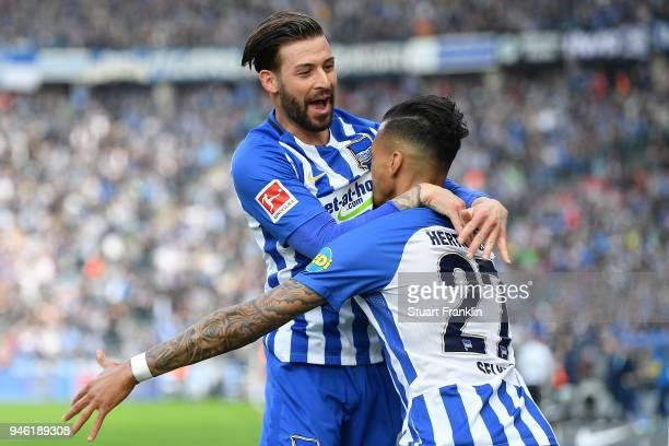 Davie Selke of Berlin celebrates with Marvin Plattenhardt of Berlin after he scored a goal to make it 21 during the Bundesliga match between Hertha...