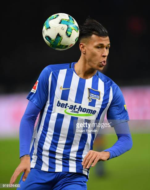 Davie Selke of Berlin in action during the Bundesliga match between Hertha BSC and 1 FSV Mainz 05 at Olympiastadion on February 16 2018 in Berlin...