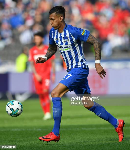 Davie Selke of Berlin in action during the Bundesliga match between Hertha BSC and 1 FC Koeln at Olympiastadion on April 14 2018 in Berlin Germany