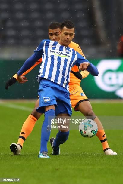 Davie Selke of Berlin is challenged by Kevin Akpoguma of Hoffenheim during the Bundesliga match between Hertha BSC and TSG 1899 Hoffenheim at...