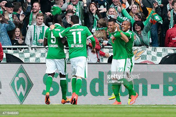 Davie Selke of Bremen celebrates after scoring their first goal during the First Bundesliga match between SV Werder Bremen and Eintracht Frankfurt at...