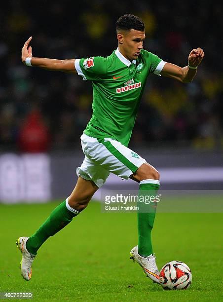 Davie Selke of Bremen in action during the Bundesliga match between SV Werder Bremen and Borussia Dortmund at Weserstadion on December 20 2014 in...