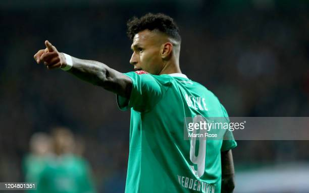 Davie Selke of Bremen reacts during the DFB Cup round of sixteen match between SV Werder Bremen and Borussia Dortmund at Wohninvest Weserstadion on...