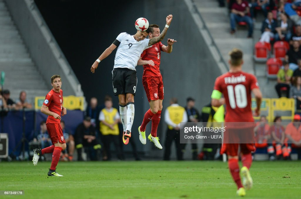 Davie Selke of Germany and Michael Luftner of Czech Republic during their UEFA European Under-21 Championship match on June 18, 2017 in Tychy, Poland.