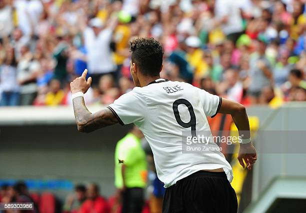 Davie Selke of Germany celebrates his goal against Portugal during the second half of the Men's Football Quarterfinal match on Day 8 of the Rio 2016...