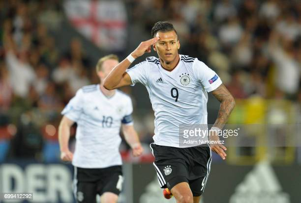 Davie Selke of Germany celebrates scoring his sides first goal during the UEFA European Under21 Championship Group C match between Germany and...